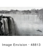 #48813 Royalty-Free Stock Photo Of A Black And White Scene Of The Maid Of The Mist Under Horseshoe Falls From Goat Island
