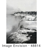 #48814 Royalty-Free Stock Photo Of Snow And Ice At The Top Of American Falls In Winter Niagara Falls