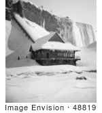 #48819 Royalty-Free Stock Photo Of A Station At Foot Of Incline At The American Falls In The Winter Niagara Falls
