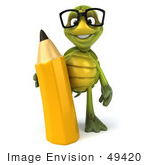 #49420 Royalty-Free (Rf) Illustration Of A 3d Green Turtle Mascot Holding A Pencil - Version 1