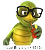 #49421 Royalty-Free (Rf) Illustration Of A 3d Green Turtle Mascot Sipping Juice From A Straw - Version 1