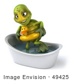 #49425 Royalty-Free (Rf) Illustration Of A 3d Green Turtle Mascot Wearing A Floaty And Standing In A Tub - Version 2
