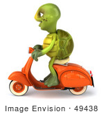 #49438 Royalty-Free (Rf) Illustration Of A 3d Green Turtle Mascot Riding A Scooter - Version 1