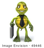 #49446 Royalty-Free (Rf) Illustration Of A 3d Green Turtle Mascot Corporate Businessman With A Briefcase