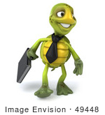 #49448 Royalty-Free (Rf) Illustration Of A 3d Green Turtle Mascot Businessman With A Briefcase - Version 3