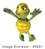 #49451 Royalty-Free (Rf) Illustration Of A 3d Green Turtle Mascot Leaping