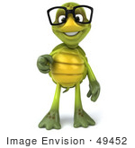 #49452 Royalty-Free (Rf) Illustration Of A 3d Green Turtle Mascot Wearing Glasses And Pointing