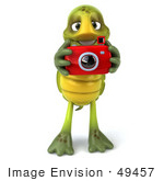 #49457 Royalty-Free (Rf) Illustration Of A 3d Green Turtle Mascot Taking Pictures - Version 1