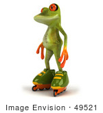 #49521 Royalty-Free (Rf) Illustration Of A 3d Red Eyed Tree Frog Mascot Roller Blading - Version 1
