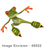 #49522 Royalty-Free (Rf) Illustration Of A 3d Red Eyed Tree Frog Mascot Roller Blading - Version 4