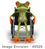 #49529 Royalty-Free (Rf) Illustration Of A Handicap 3d Red Eyed Tree Frog Using A Wheelchair - Version 2