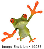 #49533 Royalty-Free (Rf) Illustration Of A 3d Red Eyed Tree Frog Taking A Big Leap Forward