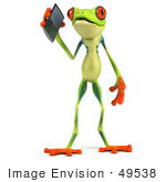 #49538 Royalty-Free (Rf) Illustration Of A 3d Green Tree Frog Character Using A Cell Phone - Version 1