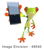 #49540 Royalty-Free (Rf) Illustration Of A 3d Green Tree Frog Character Using A Cell Phone - Version 3