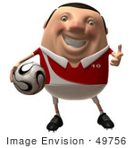 #49756 Royalty-Free (Rf) Illustration Of A 3d Chubby Soccer Player Holding A Ball - Version 3