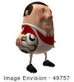 #49757 Royalty-Free (Rf) Illustration Of A 3d Chubby Soccer Player Holding A Ball - Version 2