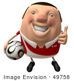 #49758 Royalty-Free (Rf) Illustration Of A 3d Chubby Soccer Player Carrying A Ball And Giving The Thumbs Up - Pose 1