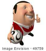 #49759 Royalty-Free (Rf) Illustration Of A 3d Chubby Soccer Player Carrying A Ball And Giving The Thumbs Up - Pose 2