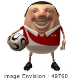 #49760 Royalty-Free (Rf) Illustration Of A 3d Chubby Soccer Player Holding A Ball - Version 1