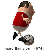 #49761 Royalty-Free (Rf) Illustration Of A 3d Chubby Soccer Player Running And Kicking A Ball