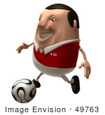 #49763 Royalty-Free (Rf) Illustration Of A 3d Chubby Soccer Player Kicking A Ball - Version 2