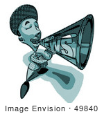 #49840 Royalty-Free (Rf) Illustration Of A 3d News Boy 3d News Boy Announcing News Through A Megaphone In Blue Tones