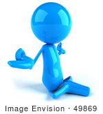 #49869 Royalty-Free (Rf) Illustration Of A 3d Blue Guy Mascot Meditating - Pose 2