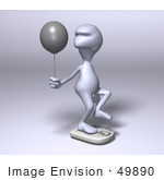 #49890 Royalty-Free (Rf) Illustration Of A 3d Human Like Alien Mascot Standing On A Scale And Holding A Balloon - Version 1