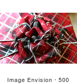 #500 Photograph Of A Plaid Colored Christmas Present