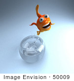 #50009 Royalty-Free (Rf) Illustration Of A 3d Goldfish Mascot Jumping Out Of A Bowl