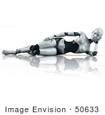 #50633 Royalty-Free (Rf) Illustration Of A 3d Female Robot Mascot Reclined On Her Side