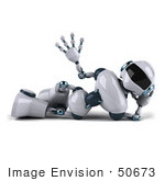 #50673 Royalty-Free (Rf) Illustration Of A 3d Futuristic Robot Mascot Waving And Relaxing