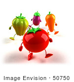 #50750 Royalty-Free (Rf) Illustration Of 3d Tomato Bell Pepper Carrot And Eggplant Characters Marching - Version 3