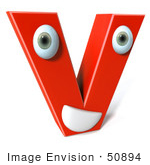 #50894 Royalty-Free (Rf) Illustration Of A 3d Red Character Letter V
