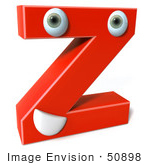#50898 Royalty-Free (Rf) Illustration Of A 3d Red Character Letter Z