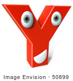 #50899 Royalty-Free (Rf) Illustration Of A 3d Red Character Letter Y