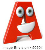 #50901 Royalty-Free (Rf) Illustration Of A 3d Red Character Letter A