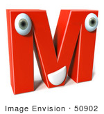 #50902 Royalty-Free (Rf) Illustration Of A 3d Red Character Letter M