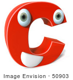 #50903 Royalty-Free (Rf) Illustration Of A 3d Red Character Letter C