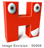 #50908 Royalty-Free (Rf) Illustration Of A 3d Red Character Letter H