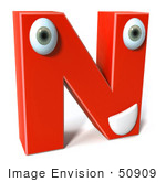#50909 Royalty-Free (Rf) Illustration Of A 3d Red Character Letter N