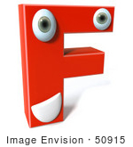 #50915 Royalty-Free (Rf) Illustration Of A 3d Red Character Letter F