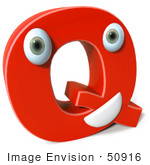 #50916 Royalty-Free (Rf) Illustration Of A 3d Red Character Letter Q