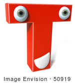 #50919 Royalty-Free (Rf) Illustration Of A 3d Red Character Letter T