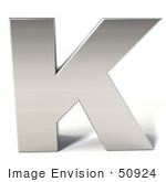 #50924 Royalty-Free (Rf) Illustration Of A 3d Chrome Alphabet Letter K