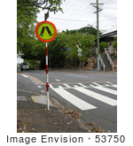 #53750 Royalty-Free Stock Photo Of A Crosswalk Sign By A Street
