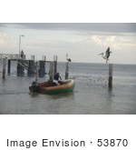 #53870 Royalty-Free Stock Photo Of A Boat With Pelicans