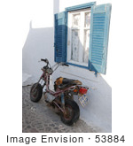#53884 Royalty-Free Stock Photo Of An Old Motorcycle By A Window