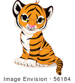 #56184 Royalty-Free (Rf) Clip Art Of An Adorable Baby Tiger Cub Sitting