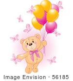 #56185 Royalty-Free (Rf) Clip Art Of A Girl Teddy Bear Floating Away With Butterflies And Balloons